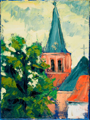 Mondrians Church, Domburg, a painting by rod coyne