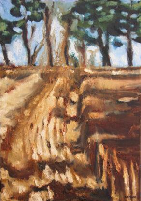 artist rod coyne's painting barley harvest is shown here