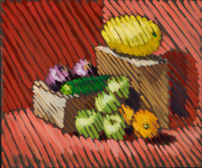 still life painting with diagonal stripes by artist rod coyne