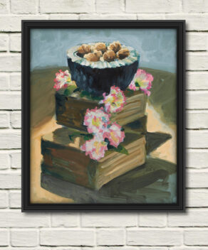 "artist rod coyne's still life painting""walnuts & carnations"" is shown here, as a canvas print in a black frame on a white wall."