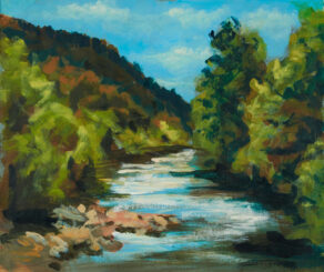 artist rod coyne's meeting of the waters painting is show here