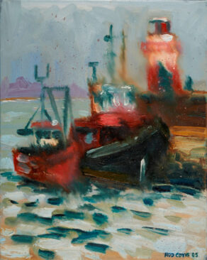 rod coyne's painting Wicklow Trawlers Shelter is shown here