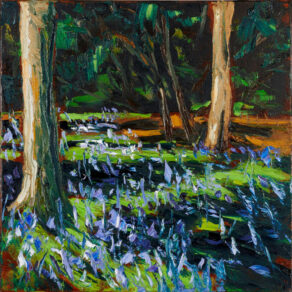 oil painting of a forest floor full of bluebells by artist rod coyne