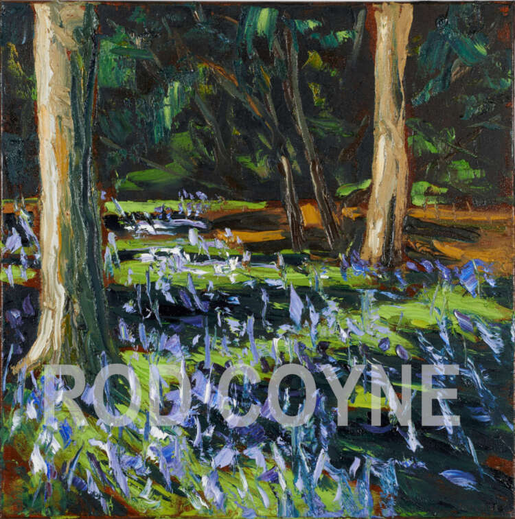crazy dancing bluebells, a painting by artist rod coyne. watermarked