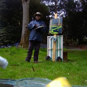 Bluebells painting sunlight in the rain.