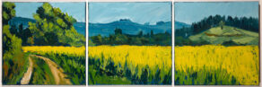 "artist rod coyne's ""summer field triptych"" painted on three canvas panels"
