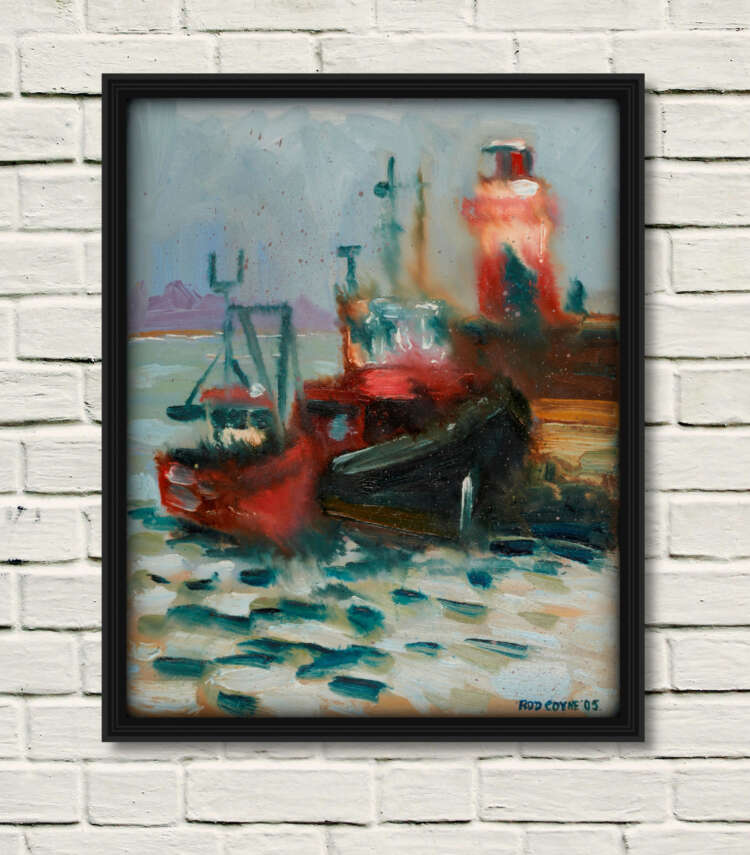 Artist Rod Coyne's painting Wicklow Trawlers Shelter is shown here in a black frame on a white wall