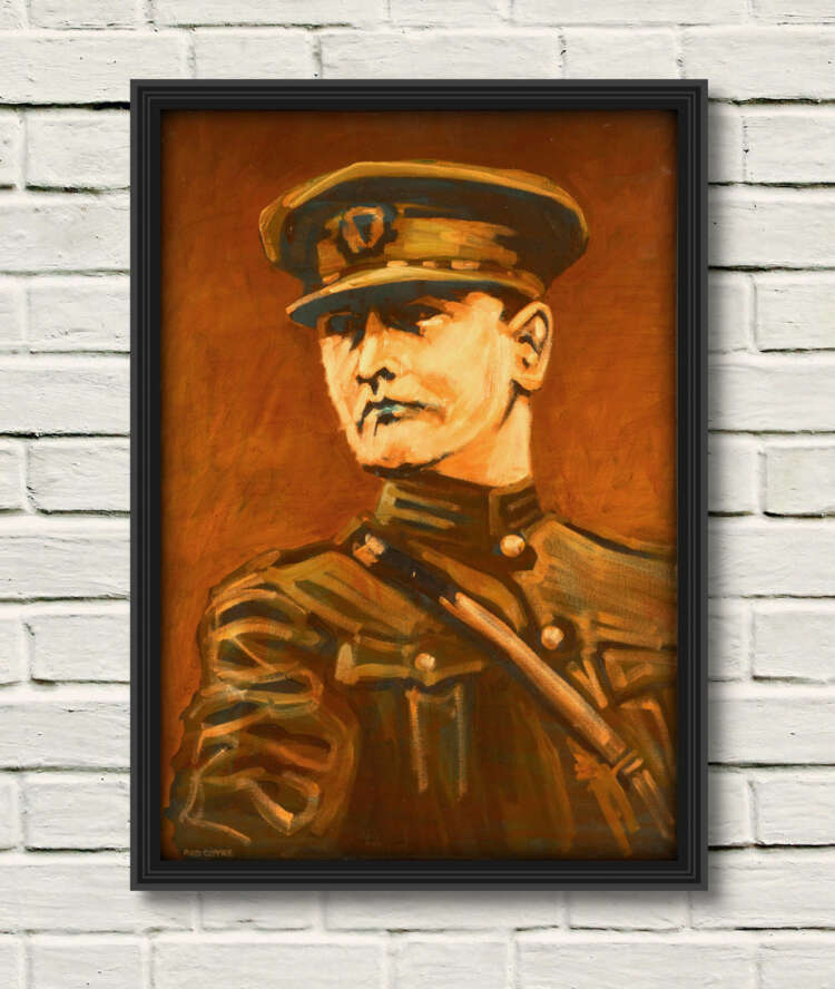 General Michael Collins canvas print on a white wall in a black frame