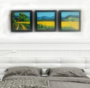Summer Field framed interior display, cropped.