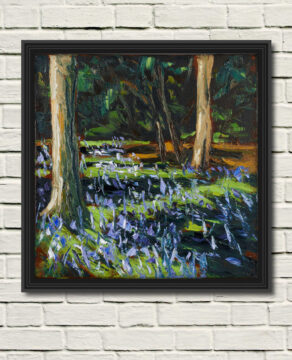 canvas print of: crazy dancing bluebells, a painting by artist rod coyne.here displayed on a white wall in a black frame