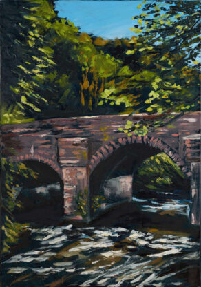 artist rod coyne's oil painting of the bridge over the meeting of the waters co. wicklow