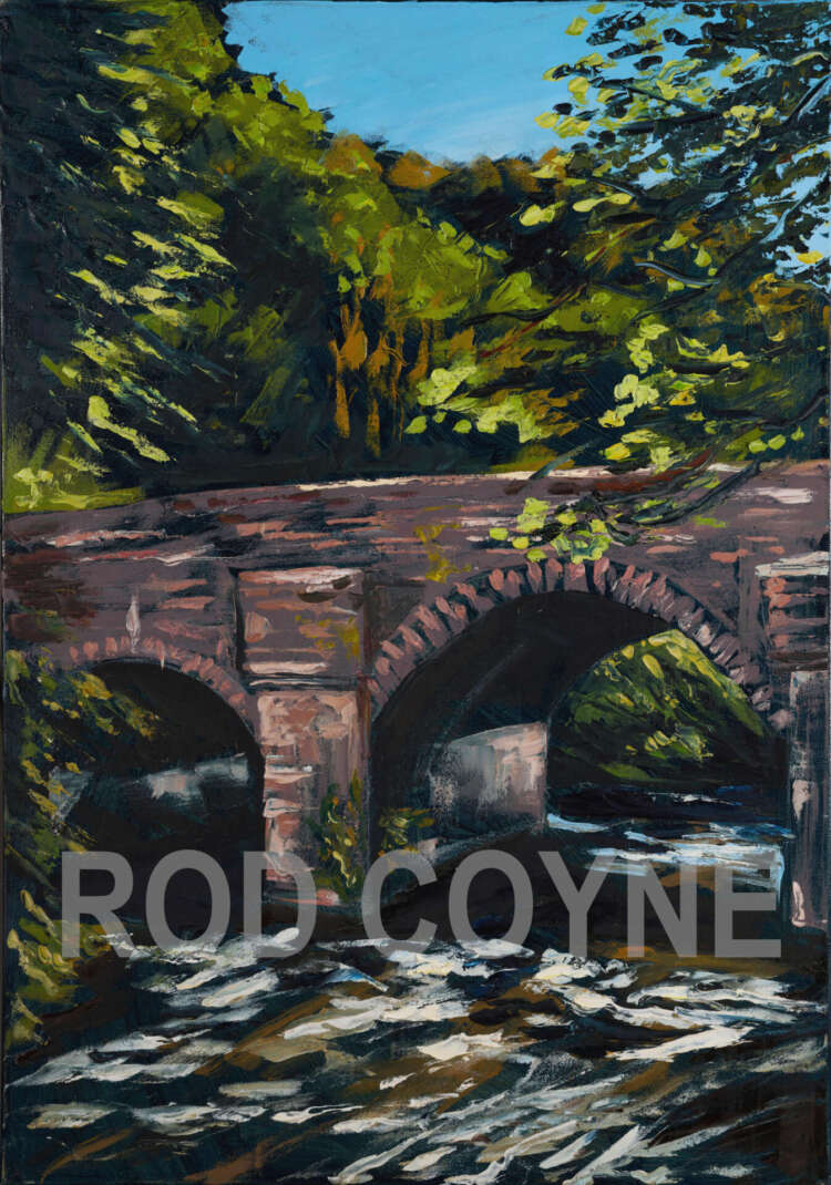 artist rod coyne's oil painting of the bridge over the meeting of the waters co. wicklow. watermarked
