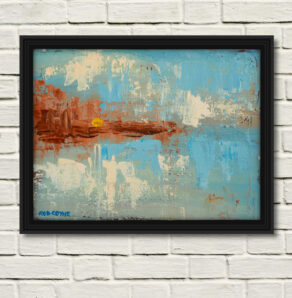 blessed beacon canvas print by artist rod coyne is displayed here in a black frame on a white wall