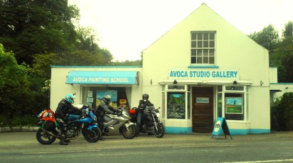 French bikers visit Avoca Gallery on their way to the ferry in Rosslare.