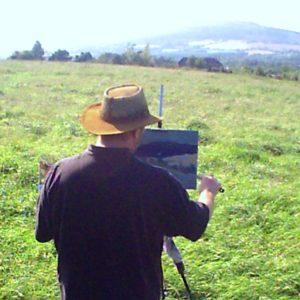 Rod Coyne paints the Sleeping Giant en plein air.