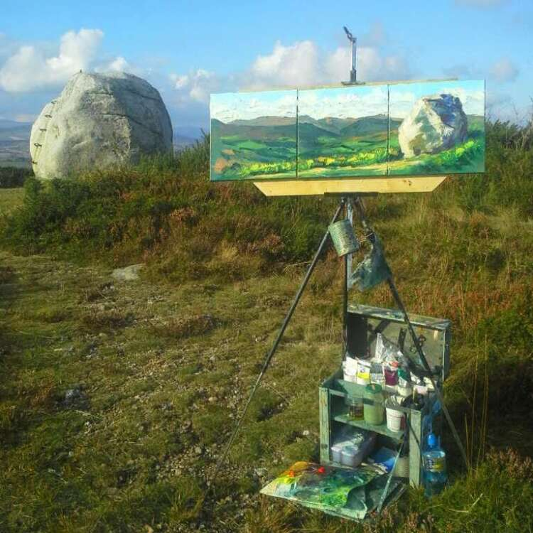 The Mottee Stone Triptych work in progress atop a mountain.