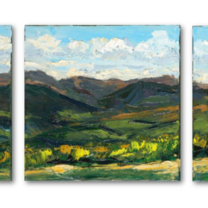 The Mottee Stone Triptych hanging unframed.