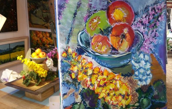 Students finishes a dazzling still life.