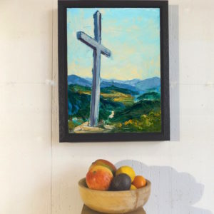 Miners Cross canvas print displayed with a bowl of fruit for scale. Cropped closer this time.