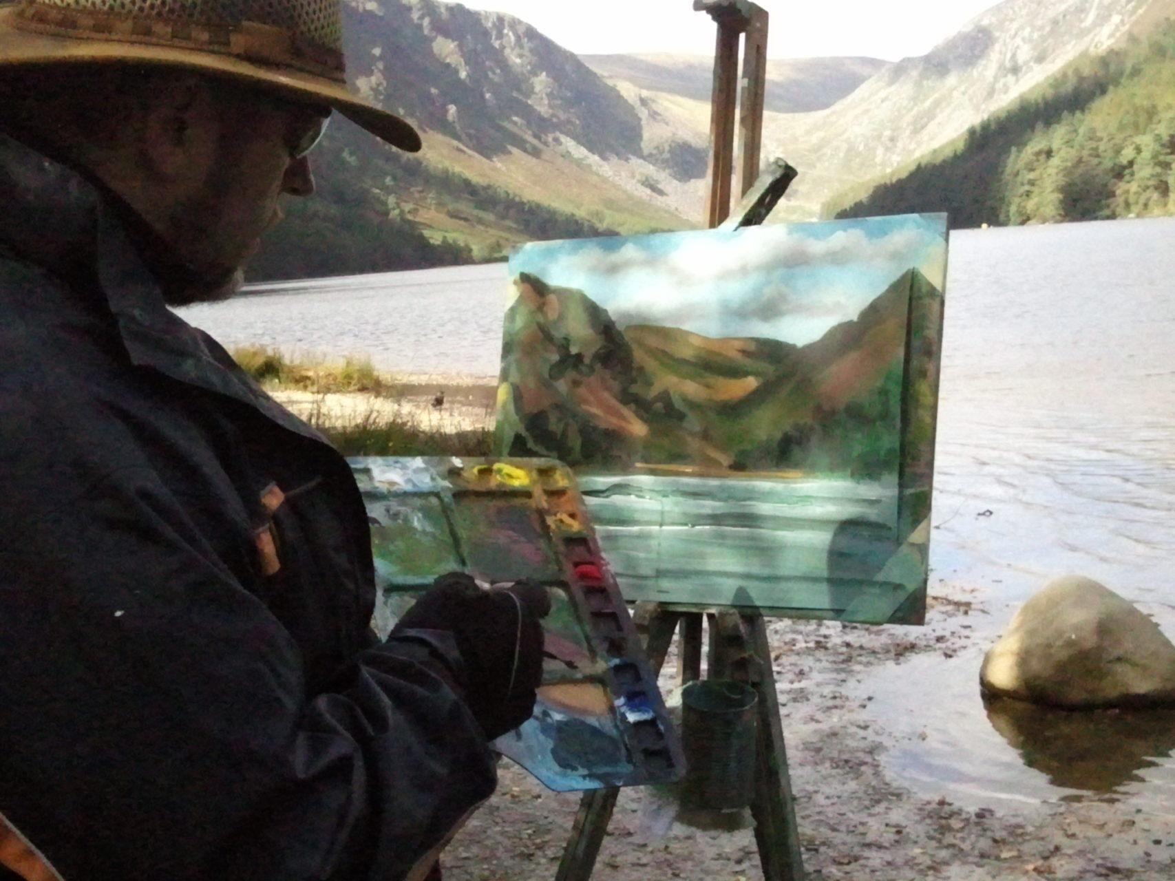 Rod Coyne gives a painting demonstration at Glendalough Upper Lake.