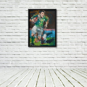 Brian O'Driscoll, Celestial Steps - framed canvas print on a rough white wall with white floor.