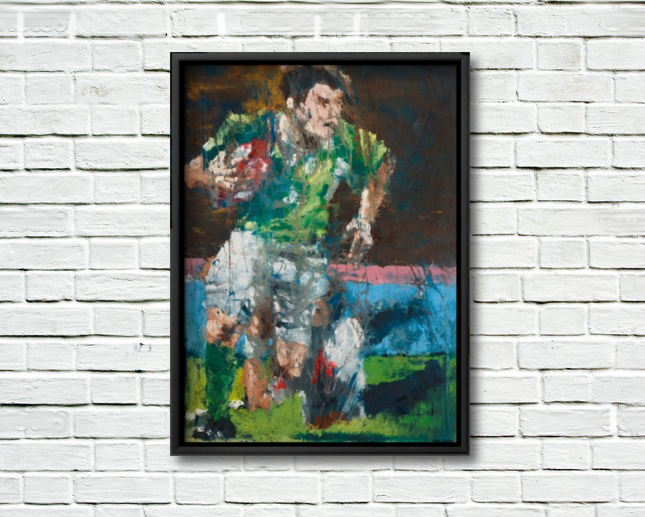 Brian O'Driscoll, Celestial Steps - framed canvas print on a rough white wall.