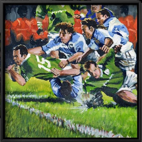Ireland V Pumas, framed canvas print.