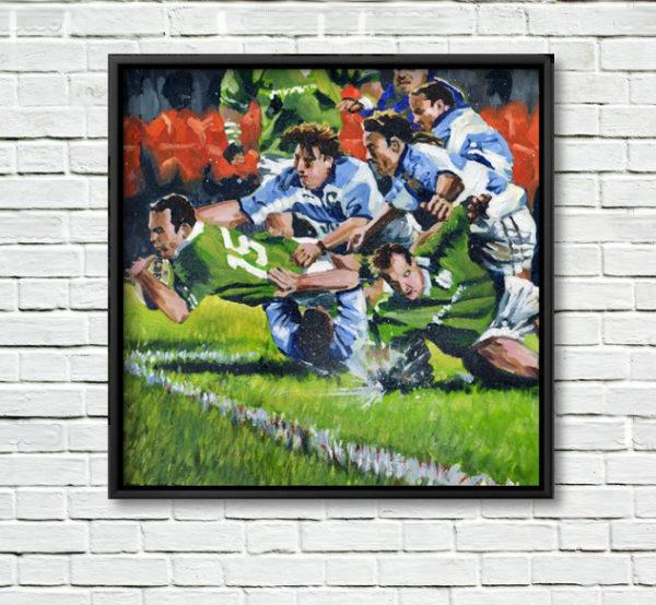 Ireland V Pumas, framed Print on White Wall.