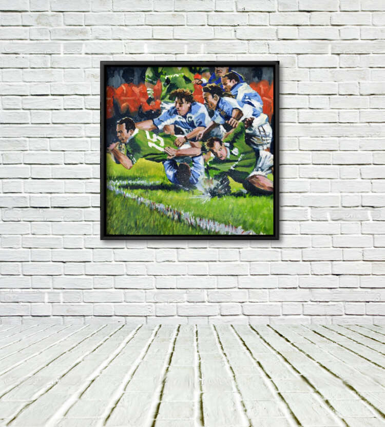 Ireland V Pumas, framed Print on White Wall with White Floor.
