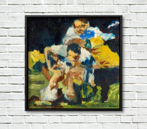 Martin Johnson, Crash Ball; framed print on a white brick wall.