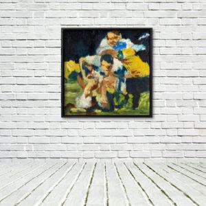 Martin Johnson, Crash Ball; framed print on a white brick wall with a white floor.