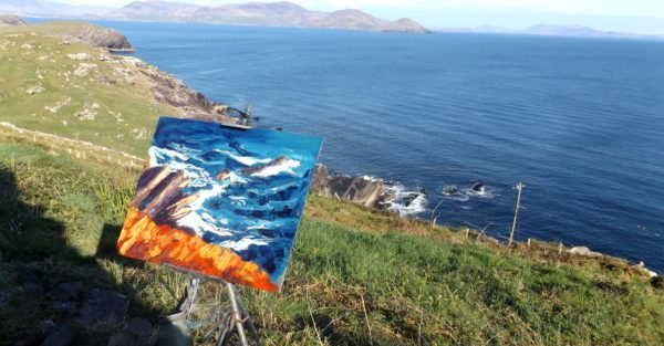 "Rod Coyne Shortlisted ""Cill Rialaig Blaze"" for NOA UK_wet paint on the blue Atlantic coastline."