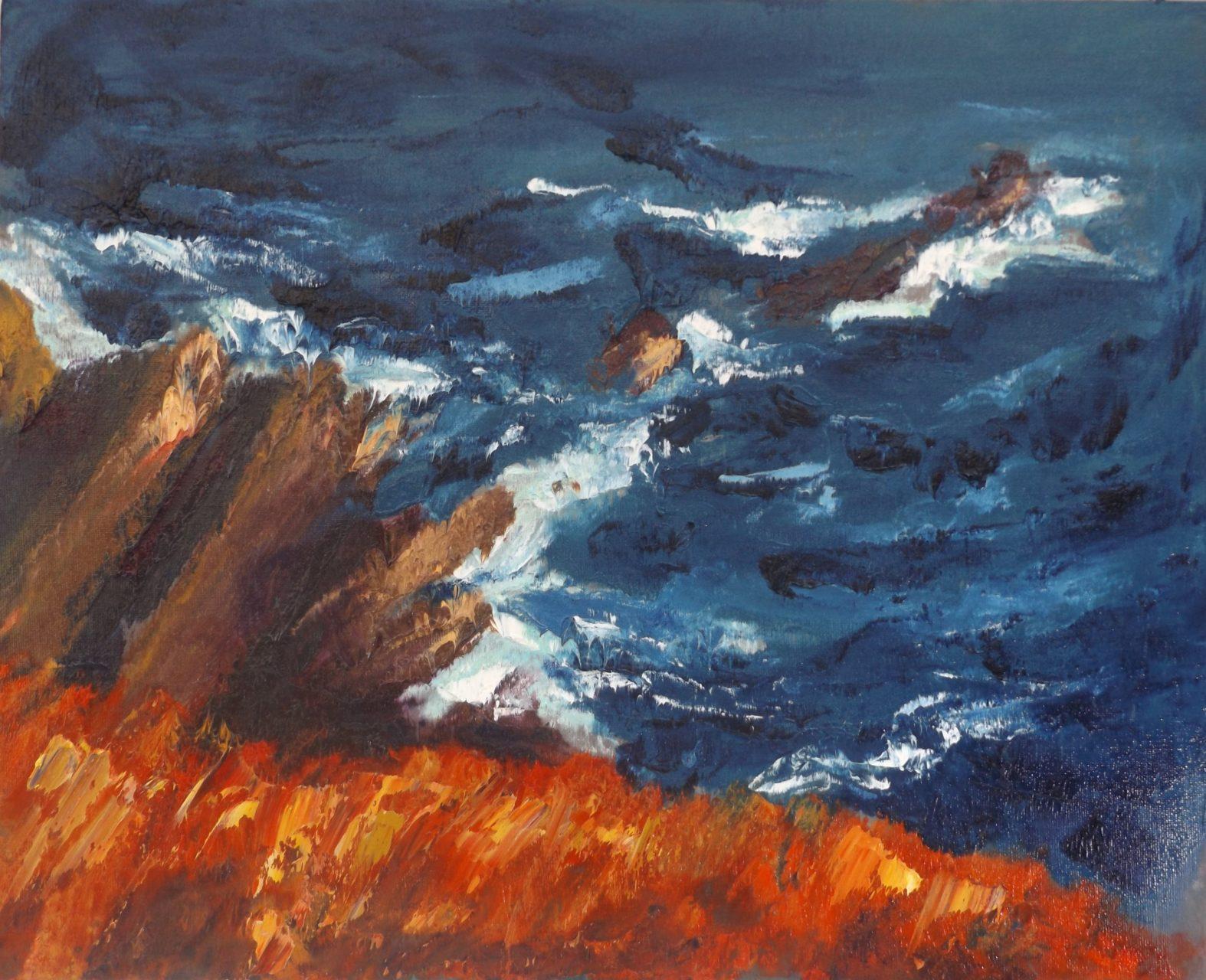 """Rod Coyne Shortlisted """"Cill Rialaig Blaze"""" oil on canvas, 40x50cm."""