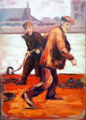"""In Dublin Docklands the """"Hot Dockers"""" by Rod Coyne interprets a vintage image depicting men at work through a palette of fiery reds, oranges and pinks."""