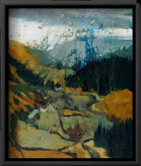 """Pilgrim's Way, Wicklow Gap"" canvas print framed in black."