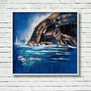 """ Skellig Arch "" framed and displayed on a white brick wall."