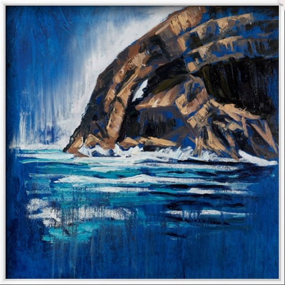 """"""" Skellig Arch """" 80x80cm, oil on canvas, displayed in a white frame."""