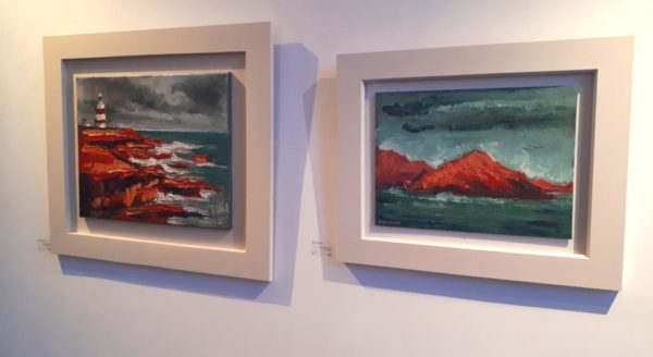 "Two canvases in slick white frames ""Hooked on Red"" 40x50cm and ""Hog's Head Blaze"" 30x40cm both are oil on canvas."