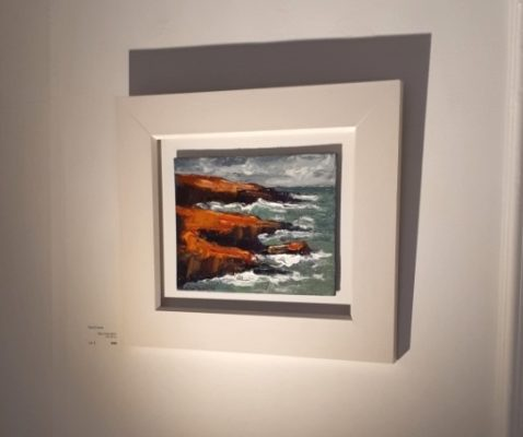 """Below the Hook"" was the first to sell on the opening night. the painting is oil on canvas and 20x25cm."