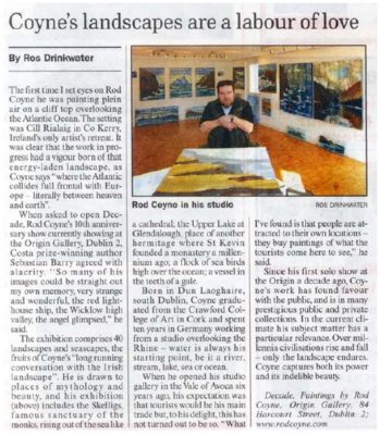 """Rod Coyne's """"Decade"""" exhibition featured in the Sunday Business Post, 2009, by Ros Drinkwater."""
