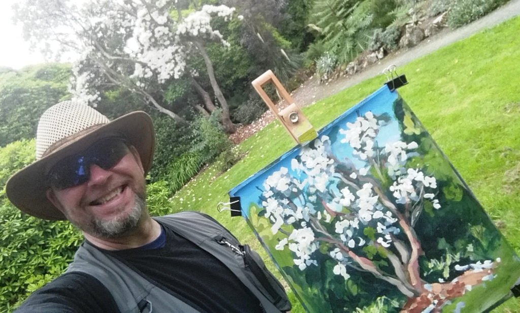 Rod Coyne with his painting demo at Kilmacurragh's Botanical Gardens.