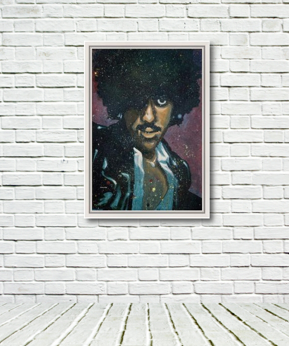 "This photo depicts Rod Coyne's 'Phil ""Philo"" Lynott' original canvas in a white frame. The rustic brick wall and floor give a sense on the 100x70cm painting size."