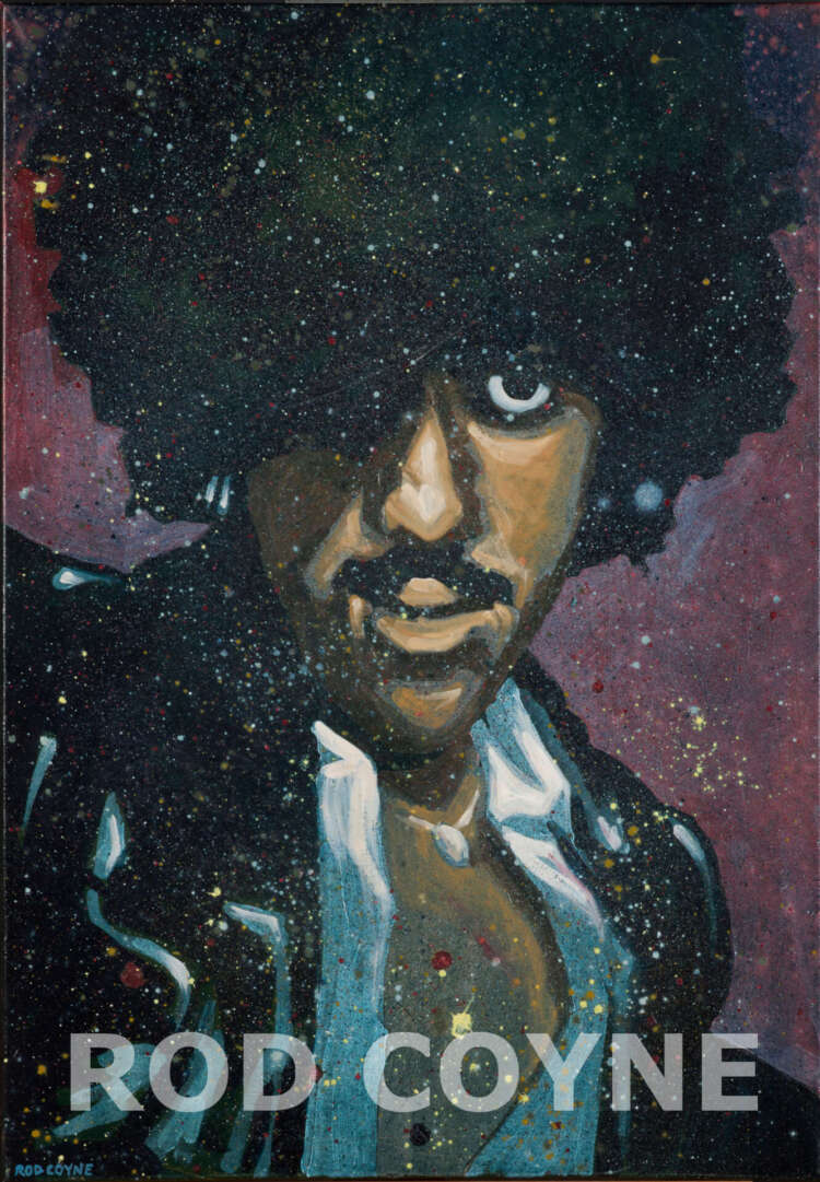 "This photo shows 'Phil ""Philo"" Lynott' original canvas in high resolution for close inspection (watermarked). Painted by Rod Coyne, 100x70cm, acrylic and oil paints on canvas."