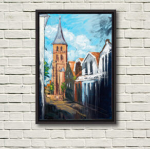 "Image of ""Domburg Mandriaan's Church"" canvas print in black frame displayed on a rough white wall."