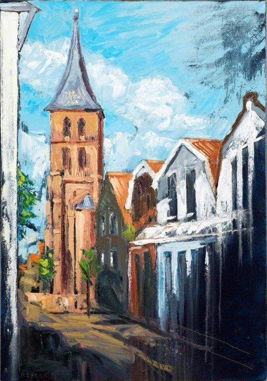 "Image of painting ""Domburg, Mondriaan's Church"" by Rod Coyne, 70x100cm, oil on canvas, €2900."