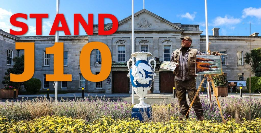 Rod Coyne outside the RDS in Art Source 2019 advertising stand number J10