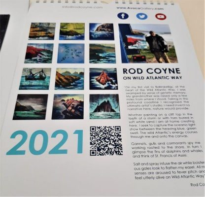 2021 Calendar reverse page, showing the artist his work and statement.