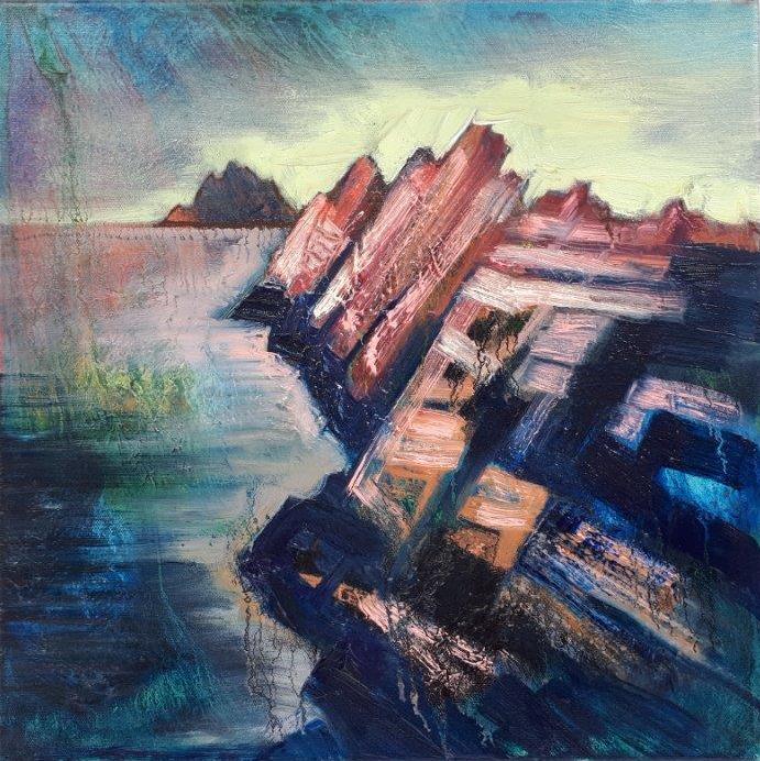 Puffin Island, 40x40cm, oil on canvas by Rod Coyne.