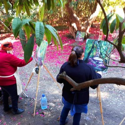 Photo of two students depicting a carpet of pink petals at the Kilmacurragh outdoor painting workshop.