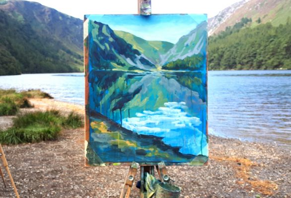 Photo depicting (still wey and on the easel) Rod Coyne's demo from our Painting Workshop at Glendalough in 2019.
